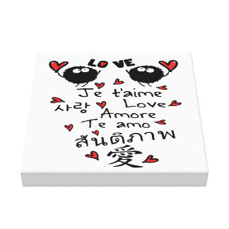 Love in many language typo Premium Wrapped Canvas
