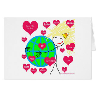 Love in many languages greeting card