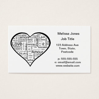 Love in many languages Heart Business Card