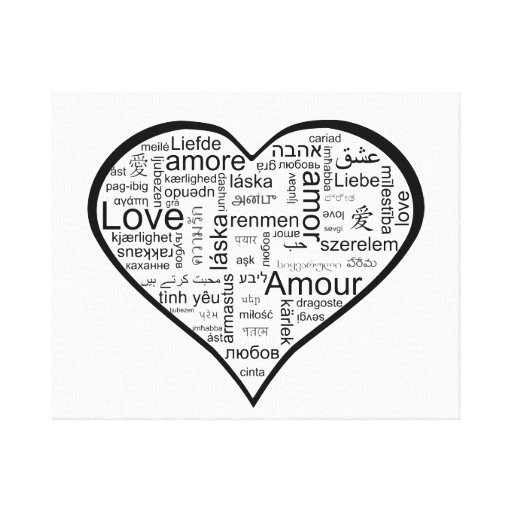 Love in many languages Heart Stretched Canvas Prints
