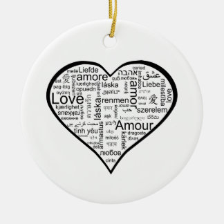 Love in many languages Heart Ceramic Ornament