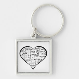 Love in many languages Heart Keychain