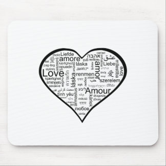 Love in many languages Heart Mouse Pad