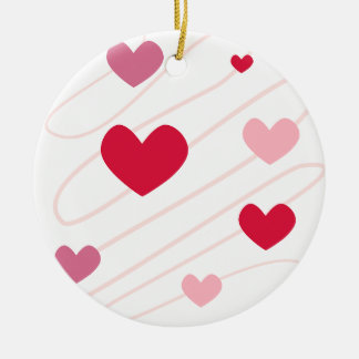 Love in my Heart Double-Sided Ceramic Round Christmas Ornament