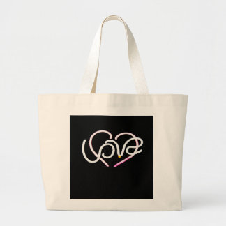 Love in Neon - Modern Romance Large Tote Bag