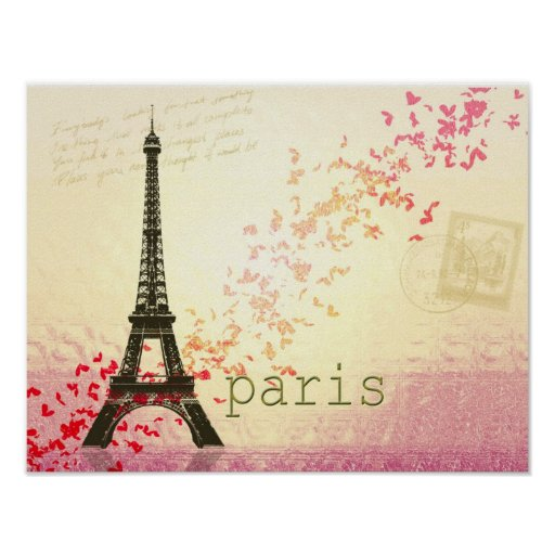 Love in Paris Eiffel Tower Poster