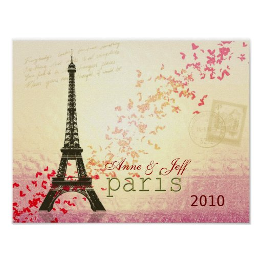 Love in Paris Eiffel Tower Print