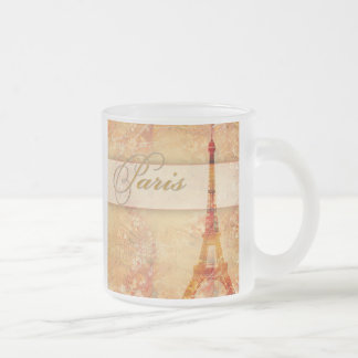 Love in Paris Frosted Glass Coffee Mug