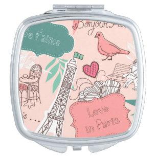 Love in Paris Pattern Pink Vanity Mirror