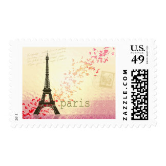 Love in Paris Postage Stamp
