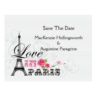 Love in Paris Save The Date Postcard