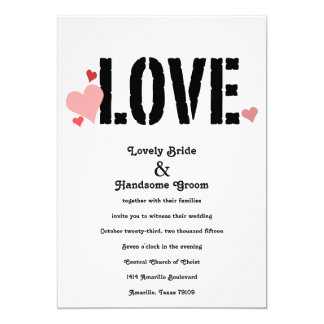 LOVE in Pink Black Two-Sided Wedding Invitation