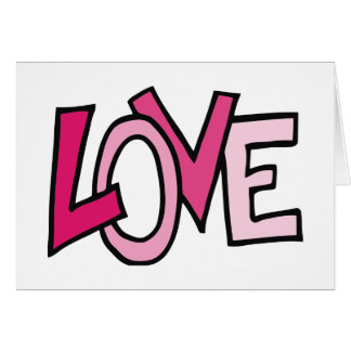 LOVE in Pink Captialized Letters Card
