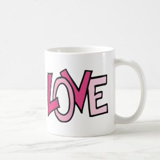 LOVE in Pink Captialized Letters Mugs