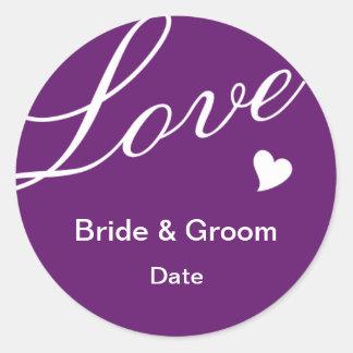 Love in Purple Round Stickers