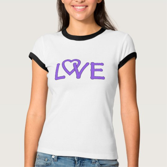 LOVE, in purple with heart in the word T-Shirt