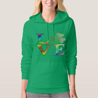 Love in Rainbow Colors with Distressed Look Hoodie