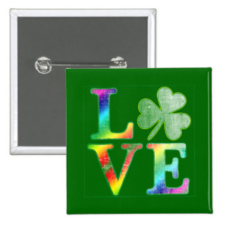 Love in Rainbow Colors with Distressed Look Pin