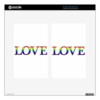 Love in rainbow print decal for kindle fire