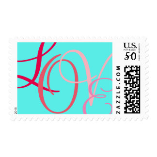 LOVE in Script Calligraphy Letters on Aqua Postage