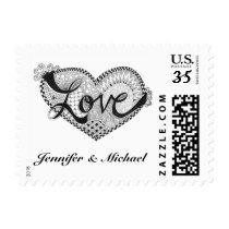 Love in Script Postage Stamp | Black and White