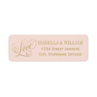 Love in Script Return Address | Blush and Gold Label