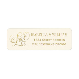 Love in Script Return Address | Ivory and Gold Label