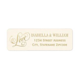 Love in Script Return Address | Ivory and Gold Return Address Label