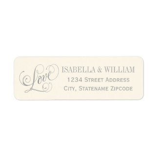 Love in Script Return Address | Ivory and Gray Label