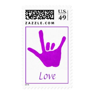 Love, in sign language, postage stamp, purple