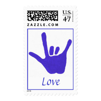 Love, in sign language, postage stamps, blue