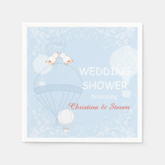Love in the Air Baby Blue Wedding Shower Paper Napkin