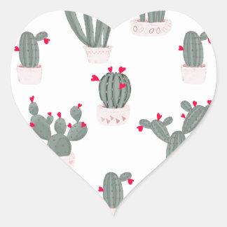 Love in the Desert Cacti Pattern Heart Sticker