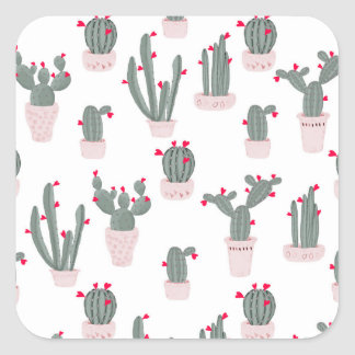 Love in the Desert Cacti Pattern Square Sticker