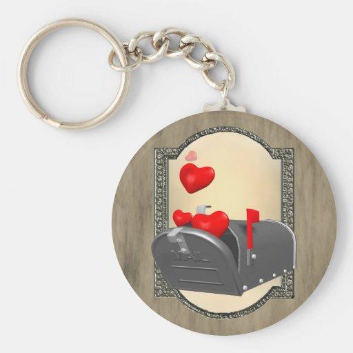 Love In The Mail Basic Round Button Keychain
