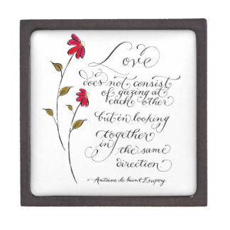 Love in the same direction romantic quote keepsake box