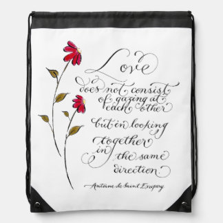 Love in the same direction typography quote drawstring backpack