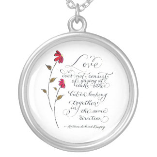 Love in the same direction typography quote silver plated necklace
