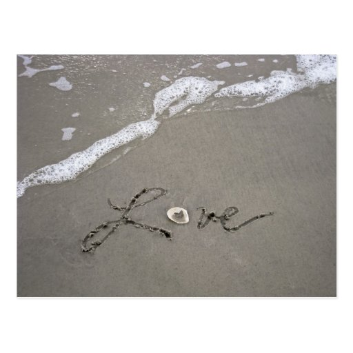 Love in the sand post cards