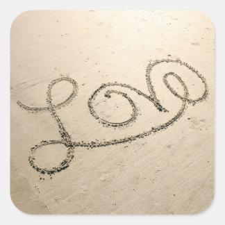 Love In The Sand Square Sticker