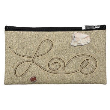 Beach Themed Love in the Sand Suede Cosmetic Bag by Julie