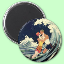 Love in the Surf Magnet - A vintage love and romance image with a young couple sharing an embrace under a wave at the beach.