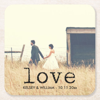 Love in Vintage Typewriter Text for Photo Square Paper Coaster