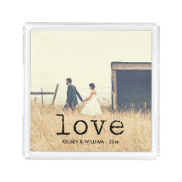 Love in Vintage Typewriter Text with Photo Acrylic Tray