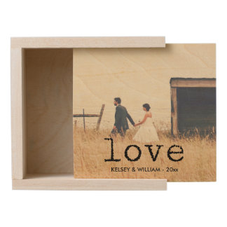 Love in Vintage Typewriter Text with your Photo Wooden Keepsake Box
