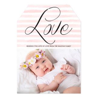 "Love in Watercolor Stripes Valentine's Day Card 5"" X 7"" Invitation Card"