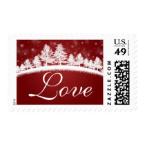 Love In Winter Wedding Red White Postage