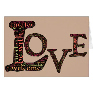 Love in word-art form that defines true connection card