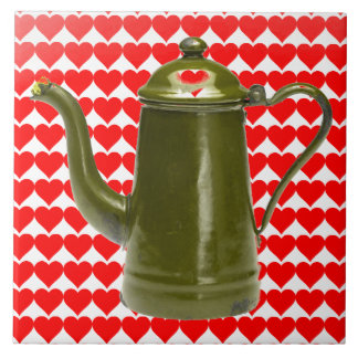 LOVE IN YOUR COFFEE POT - RED HEARTS VINTAGE POT! TILES