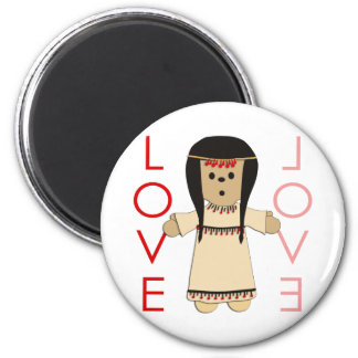 Love Indian Doll 2 Inch Round Magnet